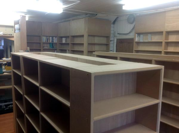 The shelves for the secondhand books start to come together